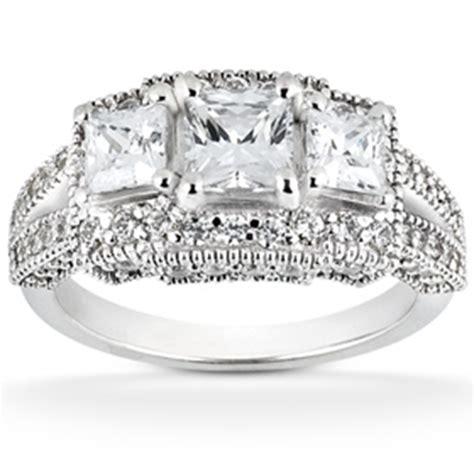 1 3 4ct vintage princess cut ring 3 halo 14k