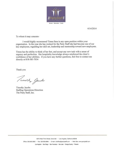 Reference Letter Not So Employee recommendation letter staff