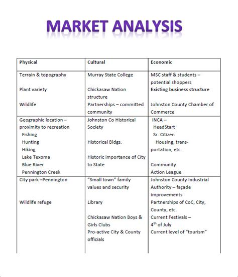 sle market analysis template 10 free documents in
