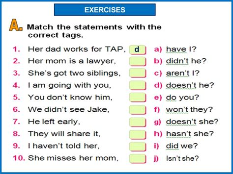 printable question tags exercise question tag grammar exercises