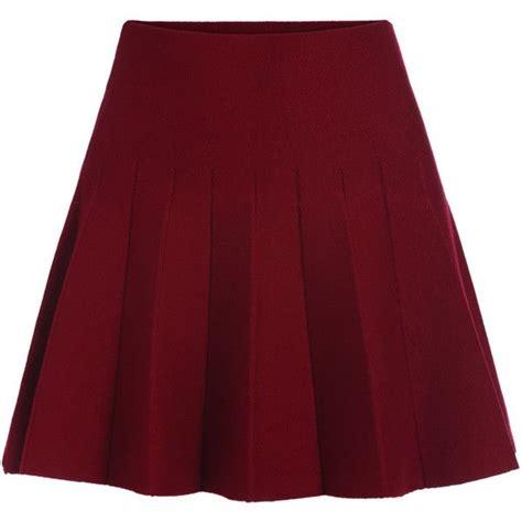 Band Waist Flare Skirt elastic waist flare maroon skirt 115 sek liked on