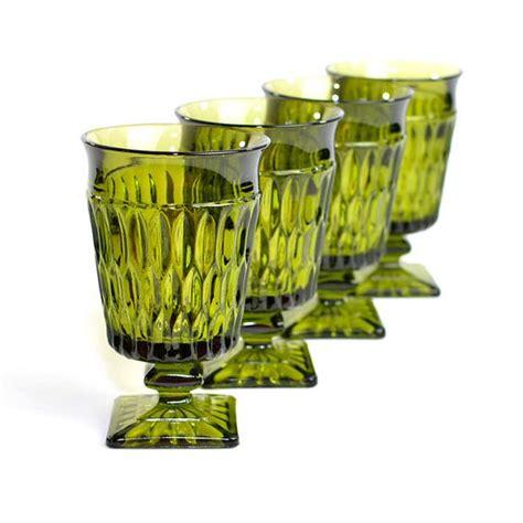 Home Bar Glassware Sets Olive Green Goblets By Indiana Glass Set Of 4 Mt