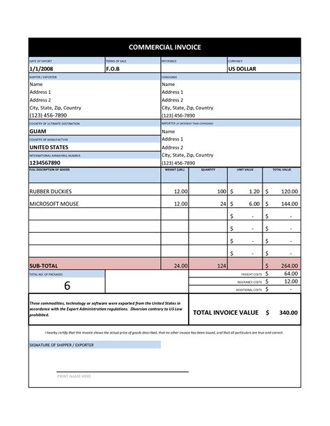 commercial invoice template free free business template