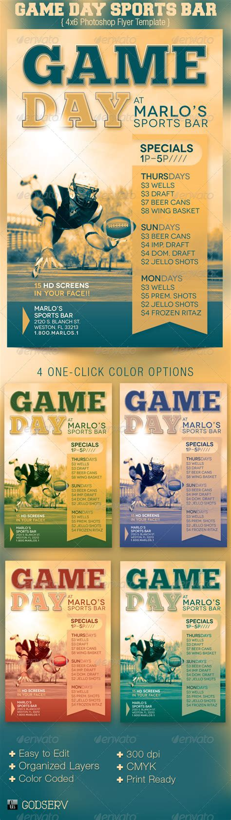 game day sports bar flyer template graphicriver