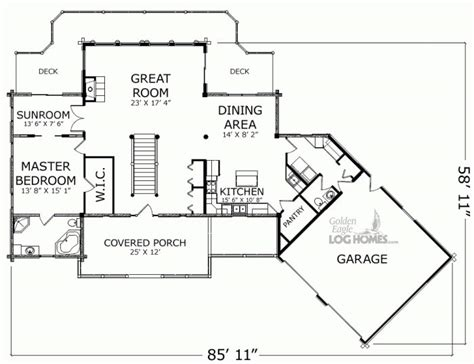 waterview floor plan golden eagle log and timber homes floor plan details