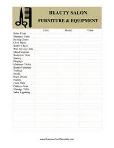 Hair Salon Floor Plans beauty salon equipment and furniture inventory card template