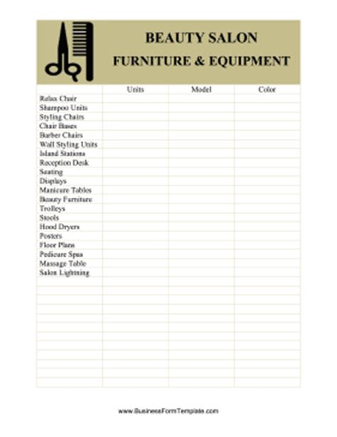 Simple Floor Plans by Beauty Salon Equipment And Furniture Inventory Card Template