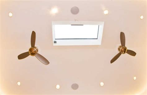ceiling fan vaulted ceiling vaulted ceiling with two fans and a skylight