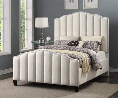 pulaski traditional glam ivory channeled queen bed