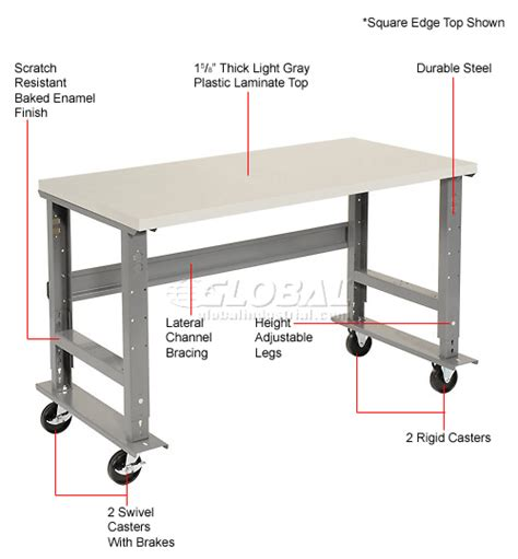 modular work benches mobile work bench adjustable height 72 quot w x 36 quot d mobile