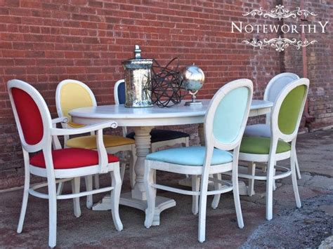 Painting Fabric Dining Room Chairs Colorful Dining Set By Noteworthyhome On Etsy