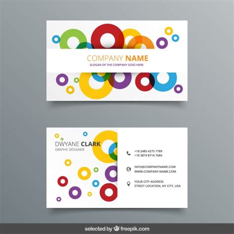 Business Card Template Circle by Colorful Circles Business Card Vector Free
