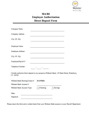 fillable  mari employer authorization direct deposit form webster bank fax email print