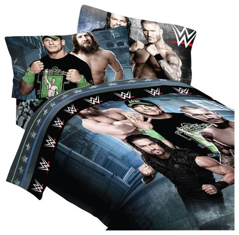 wwe twin bed set shop houzz wwe wwe wrestling bedding industrial strength