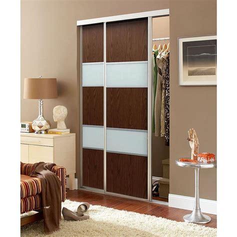 Contractors Wardrobe Closet Doors Contractors Wardrobe 72 In X 96 In Sequoia Walnut And White Painted Glass Aluminum Interior