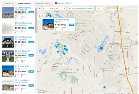 map search new construction homes the woodlands tx
