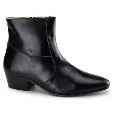 cuban heel mens boots mens cuban heel dress boots plain leather black buy at
