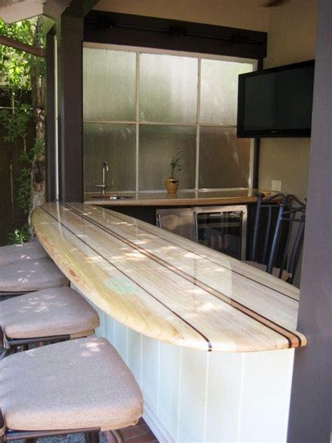 surfboard bar table outdoors outdoor coastal decor