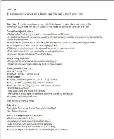 hospital housekeeping resume sle sle housekeeper resume 8 exles in word pdf