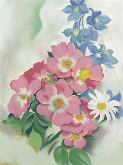 georgia okeeffe 1887 1986 flowers 0760723265 georgia o keeffe 1887 1986 pink roses and larkspur christie s