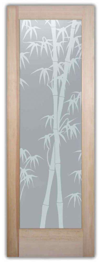 Bamboo Shoots Interior Etched Glass Doors Asian Design Bamboo Glass Door