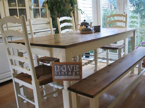 Chunky Dining Table And Chairs Large Chunky Pine Board Dining Table 4 Chairs Bench Seat 8 Shabby Chic Farmhouse Tables