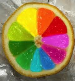 cut a lemon in half get the neon food coloring or egg dye and also regular packs and have fun