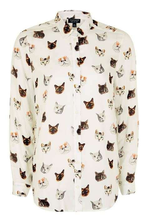 Sleeved Print Shirt sleeve multi cat print shirt topshop