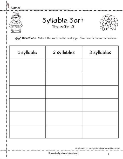 syllable template thanksgiving printouts and worksheets