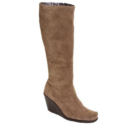 aerosoles gather suede wedge boots with side zip