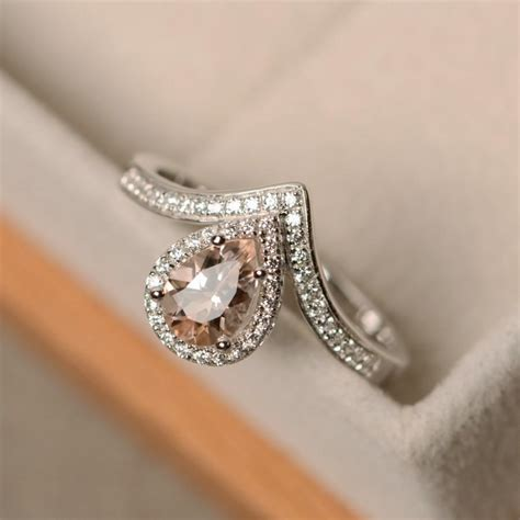 morganite ring pear cut sterling silver engagement ring