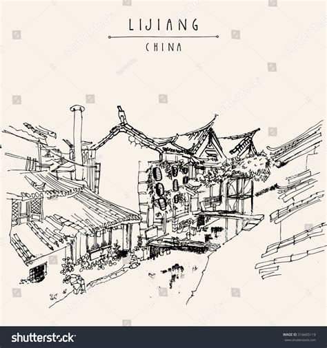 chinese house coloring page traditional chinese houses on river lijiang stock vector