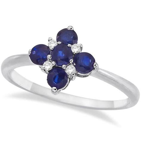 Blue Sapphire 6 55ct blue sapphire flower shaped ring 14k white gold