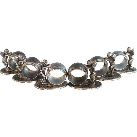 napkin rings six vintage silverplate figural napkin rings silver