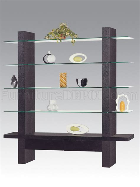 contemporary wenge finish display cabinet with 4 glass shelves