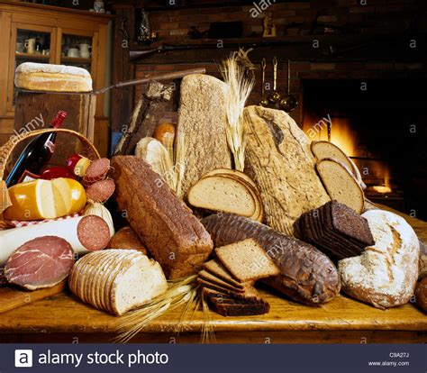 Fireplace Display food display of german bread cheese ham salami sausage