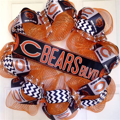 chicago bears home decor chicago bears wreath football wreath bears fan home decor