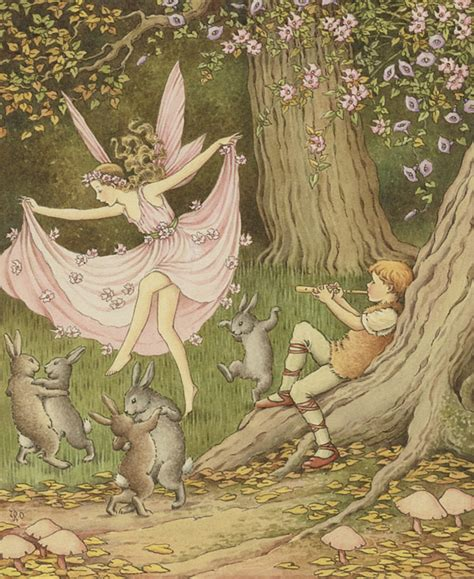 libro the faery forest an ida rentoul outhwaite 1888 1960 quot fairies and rabbits dance to the piper quot flickr photo