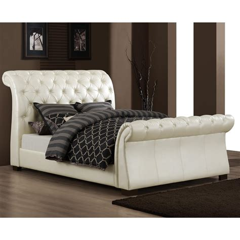 Leather Headboard Sleigh Bed by Ethan Home Castela Soft White Faux Leather Sleigh
