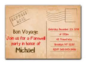 invitation for farewell sle travel farewell invitation bon voyage going away