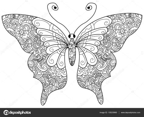 coloring book vector butterfly coloring book vector for adults stockvector