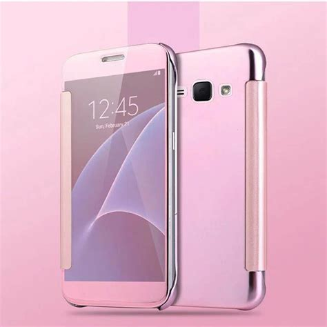 Flip Cover Mirror Transparan For Samsung S7 cover flip clear view transparent electroplating