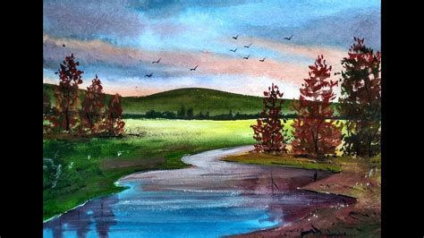 beautiful painting painting beautiful watercolor landscapes with ghanashyam