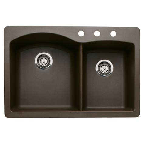 Shop Blanco Diamond 22 In X 33 In Cafe Brown Double Basin Brown Kitchen Sink