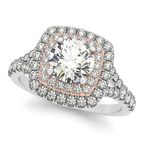 square halo ring band bridal set two tone