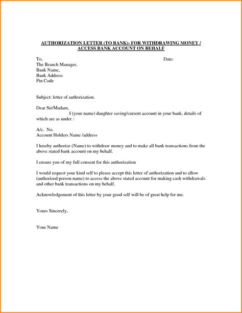 authorization letter sle 100 authorization letter template to act on my behalf