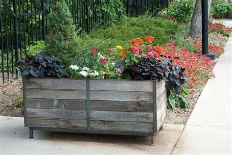 Custom Metal Planters by Custom Metal Frame Planter Made From Reclaimed By