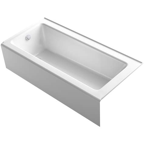 kohler bathtub shop kohler bellwether 66 in white cast iron alcove bathtub with left hand drain at