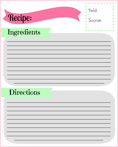 Page Recipe Card Template by Diy Recipe Binder Pocketful Of Motherhood