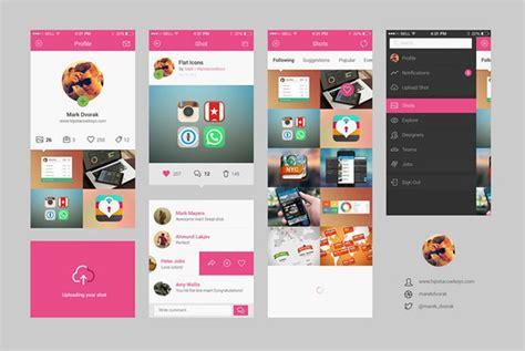 top 35 free mobile ui kits for app designers 2017 colorlib dribbble mobile app ui kit free psd at downloadfreepsd com